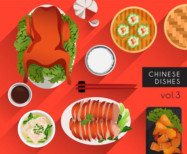 Ilustração de comida: pratos chineses