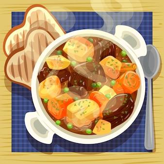 Ilustração de comida reconfortante com carne e legumes