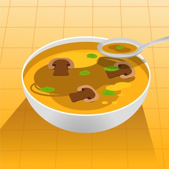 Ilustração de comida reconfortante com sopa de cogumelos