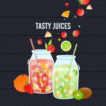 Ilustração de comida saudável de suco.