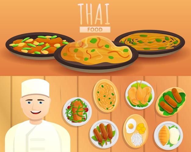 Ilustração de comida tailandesa definida no estilo dos desenhos animados