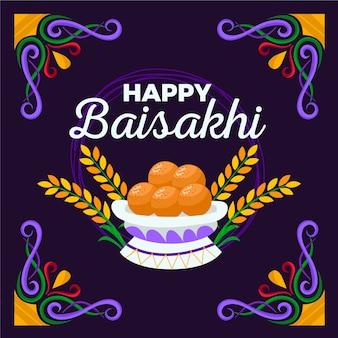 Ilustração de comida tradicional design plano baisakhi