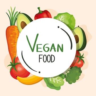 Ilustração de comida vegan com conjunto de legumes