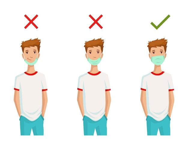 Ilustração de como usar máscara facial corretamente
