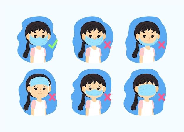Ilustração de como usar uma máscara facial