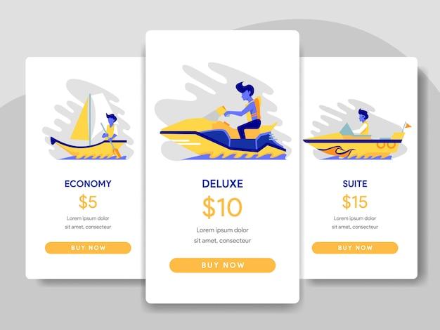 Ilustração de comparação de tabela de preços com ferry e conceito de barco