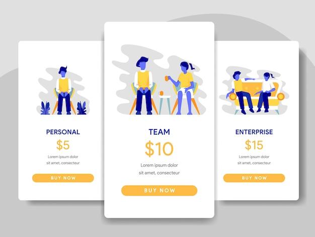 Ilustração de comparação de tabela de preços com o conceito de trabalho em equipe