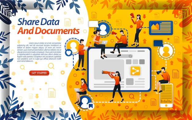 Ilustração de compartilhamento de dados e documentos de trabalho para muitas pessoas