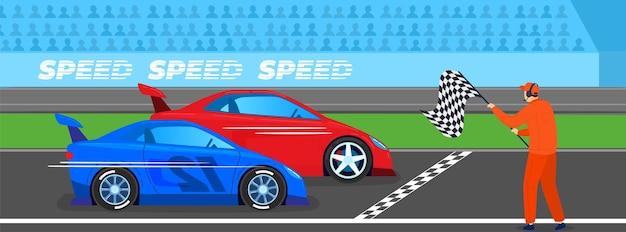Ilustração de competição de esporte de corrida. carros em alta velocidade, corridas automobilísticas velozes na linha de chegada.