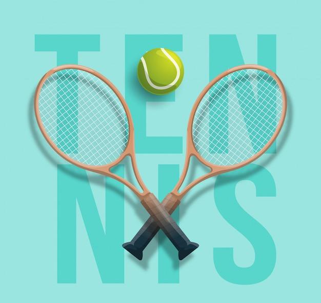 Ilustração de competição de jogo de bola cruzada de raquete de clube de tênis