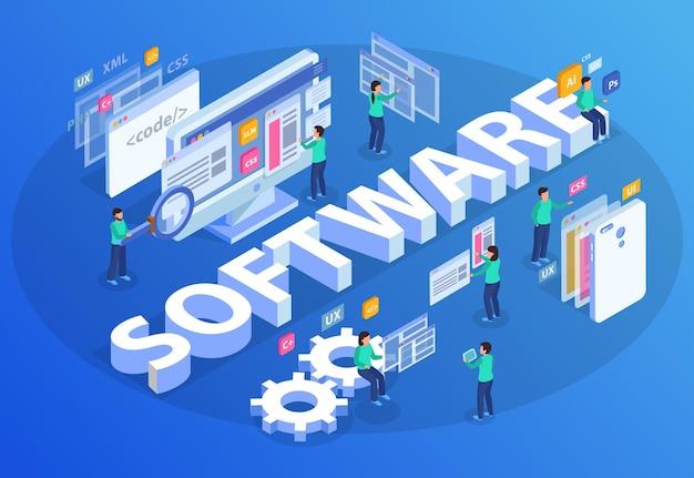 Ilustração de composição de conceito isométrico de desenvolvimento web