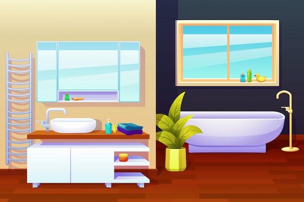 Ilustração de composição de design de interiores de banheiro