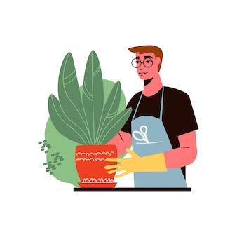 Ilustração de composição de jardinagem com jardineiro plantando árvore em vaso de flores