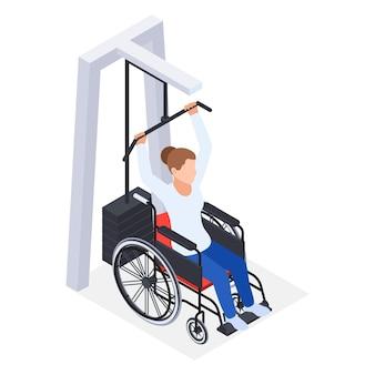 Ilustração de composição isométrica de reabilitação de fisioterapia com mulher em cadeira de rodas levantando peso