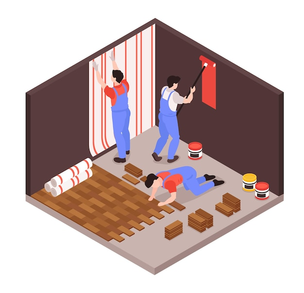 Ilustração de composição isométrica de serviço de conserto de reforma em casa
