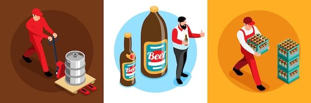Ilustração de composição isométrica do conceito de consumo de produção de cervejaria 3
