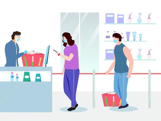 Ilustração de compradores vestindo máscara médica com cesto de produtos em frente ao balcão da loja de supermercado e mantendo distância social para evitar o coronavírus.