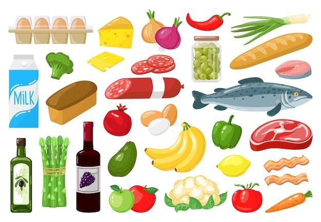Ilustração de compras de alimentos vegetais