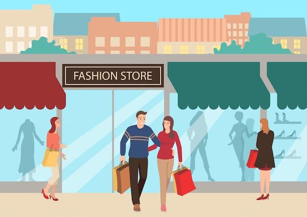 Ilustração de compras de casal