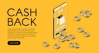 Ilustração de compras de cashback, recompensa de dinheiro em dinheiro de volta para compra de aplicativo de smartphone