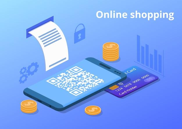 Ilustração de compras de celular on-line