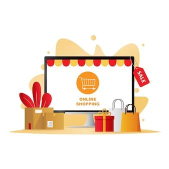 Ilustração de compras de comércio eletrônico com aplicativo de loja online no monitor do computador
