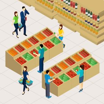 Ilustração de compras de família