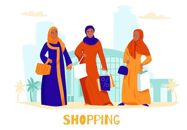 Ilustração de compras de mulheres árabes planas