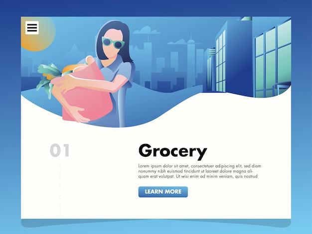 Ilustração de compras de supermercado para o modelo de página de destino