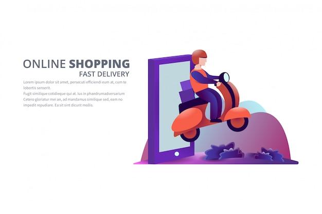 Ilustração de compras on-line de entrega rápida