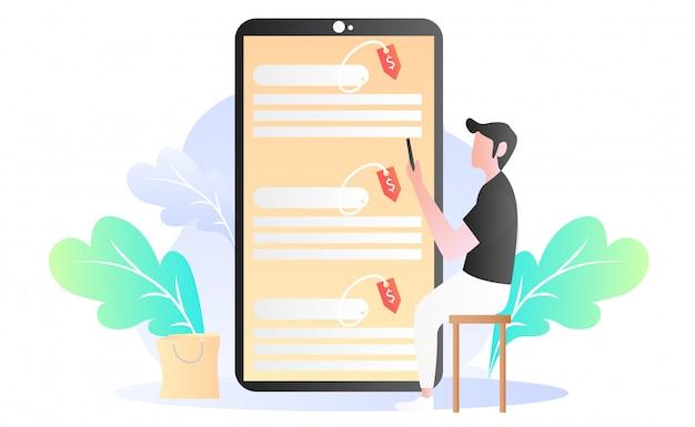 Ilustração de compras on-line plana