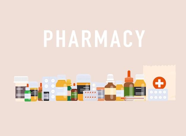Ilustração de comprimidos, cápsulas de analgésico e medicamentos
