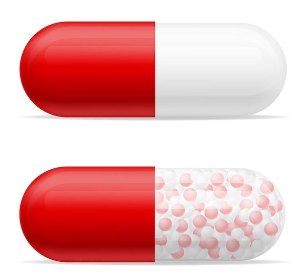 Ilustração de comprimidos de comprimidos médicos para o tratamento de doenças isoladas em branco