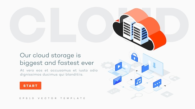 Ilustração de computação em nuvem do vetor infográfico.