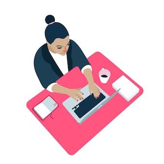 Ilustração de computador mulher no local de trabalho