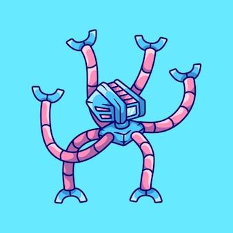 Ilustração de computador robô polvo fofo