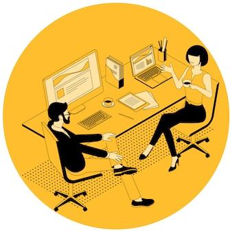Ilustração de comunicação isométrica de negócios.