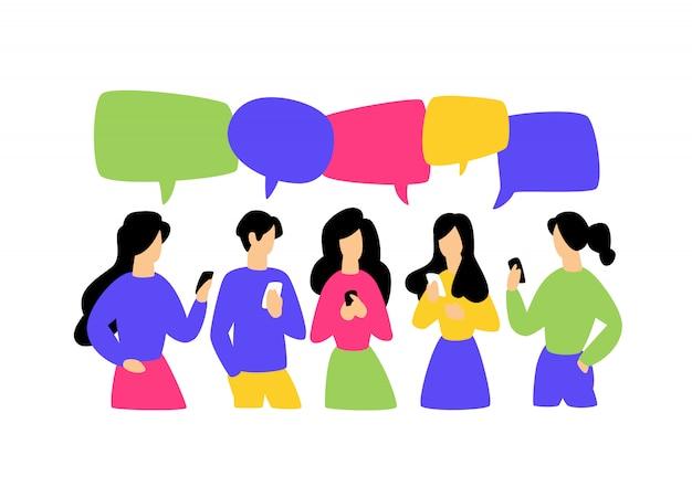 Ilustração, de, comunicar pessoas