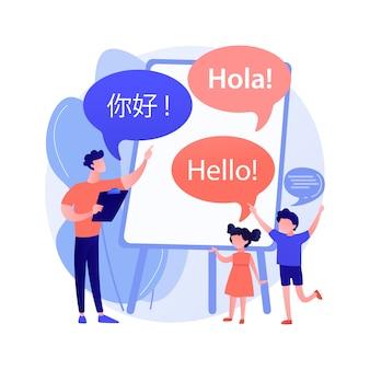 Ilustração de conceito abstrato de acampamento de aprendizagem de línguas