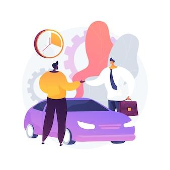 Ilustração de conceito abstrato de serviço de compartilhamento de carros