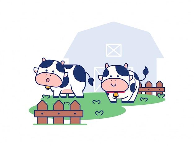 Ilustração de conceito bonito vaca e fazenda