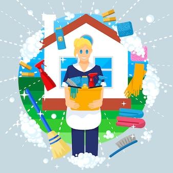 Ilustração de conceito criativo de limpeza, mulher de limpeza, governanta segurando produtos e ferramentas, para cartazes e banners