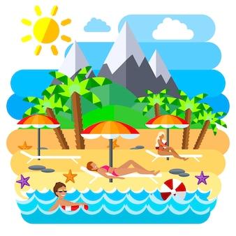 Ilustração de conceito criativo plano de praia de verão, sol, montanhas, palmeiras, bronzeamento, natação, para cartazes e banners