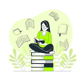 Ilustração de conceito de amante de livro