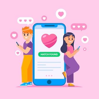 Ilustração de conceito de aplicativo de namoro com homem e mulher