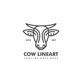 Ilustração de conceito de arte de linha de vaca