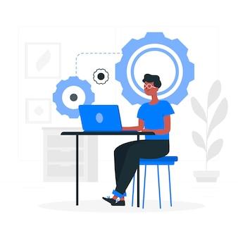 Ilustração de conceito de atividade de desenvolvedor