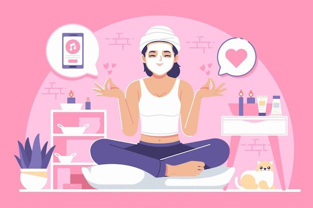 Ilustração de conceito de atividades de auto-cuidado