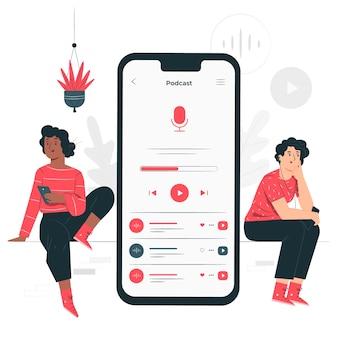 Ilustração de conceito de audiência de podcast