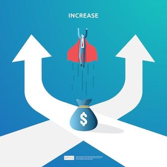 Ilustração de conceito de aumento de taxa de salário de renda com caráter de pessoas e seta. desempenho financeiro do retorno sobre o investimento roi. crescimento do lucro da empresa, receita de margem de crescimento de vendas com o símbolo do dólar